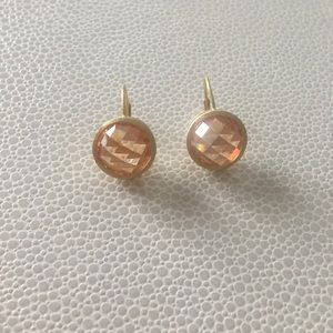Jewelry - Peach coloured crystal sterling silver earrings